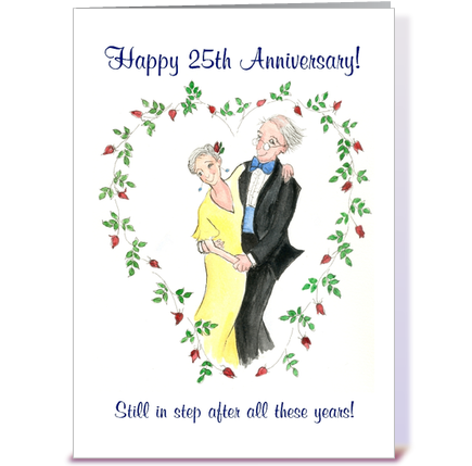 25th wedding anniversary dancing couple greeting card by flutterby
