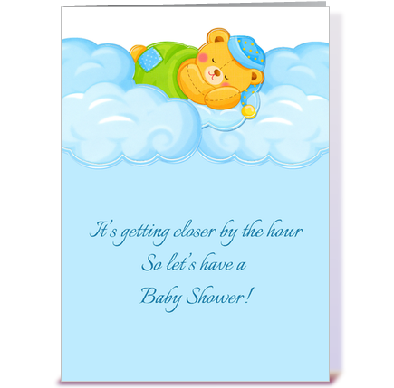 Good Blue Clouds, Sleeping Bear, Baby Shower. Designed By Starstock Greetings