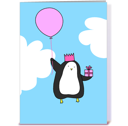 birthday penguin greeting card by amble and sing  card gnome, Birthday card