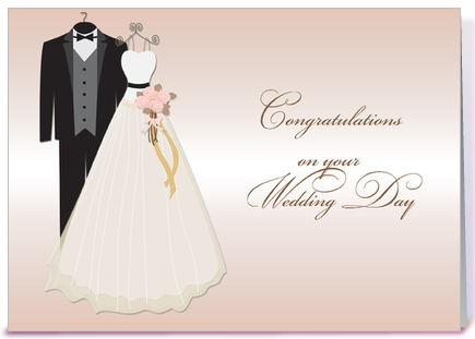 wedding gown tuxedo wedding congrats greeting card by starstock