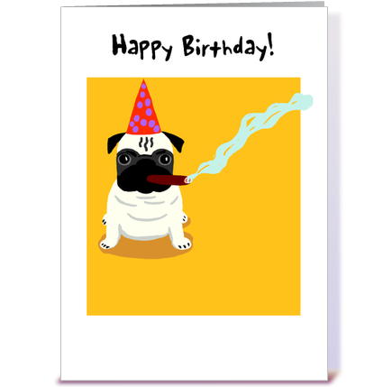 pug old dog birthday greeting card by gravelly art  card gnome, Birthday card