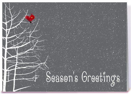 season's greetings, white tree, red bird greeting card by, Greeting card