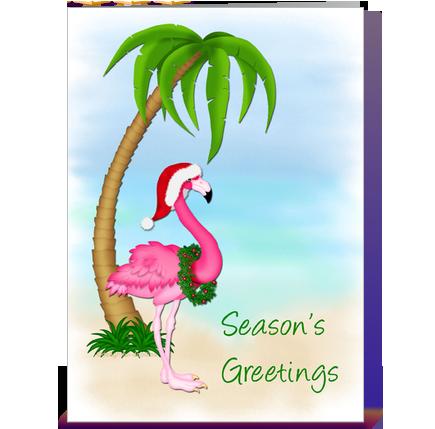 Flamingo, Palm Tree, Christmas greeting card by Starstock ...