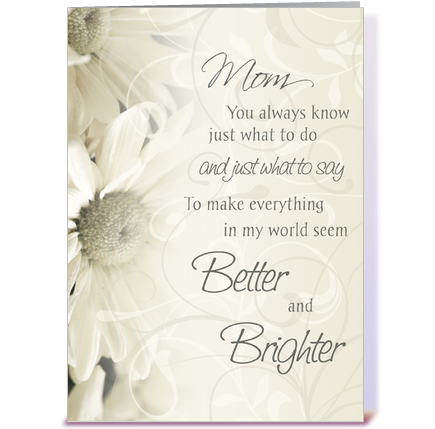 Happy Birthday Mom White Flowers greeting card by Dreaming Mind – Happy Birthday Mom Greetings