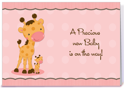 Giraffe Pink Dots Baby Shower Invitation greeting card by ...