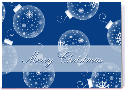 Merry Christmas Blue Snow Decorations greeting card by Dreaming ...