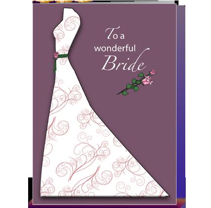 Bridal Shower Plum Dress Congratulations greeting card by Sandra
