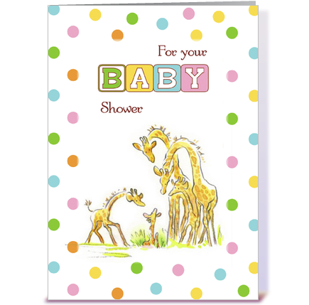 baby shower giraffe family congratulate greeting card by sandra rose