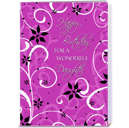 Happy Birthday Daughter Pink Swirls greeting card by Dreaming Mind – Birthday Daughter Card