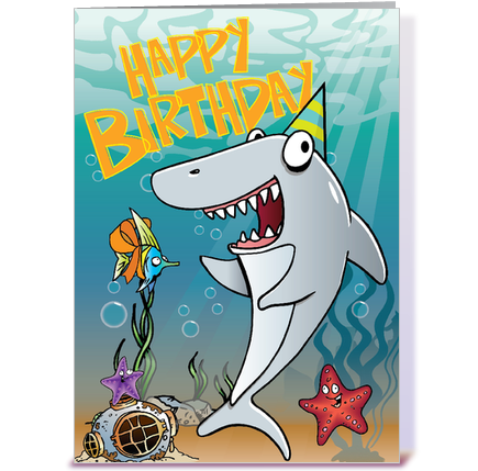 shark birthday greeting card by tim read illustration  card gnome, Birthday card
