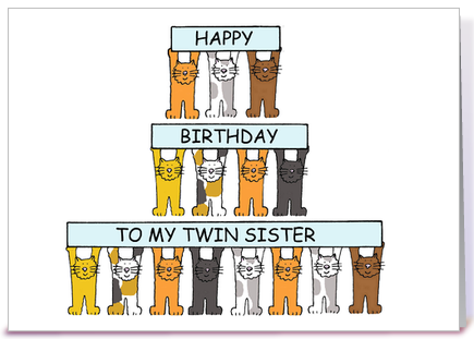 Cats Birthday card for twin sister greeting card by Kate Taylor – Twin Sister Birthday Card