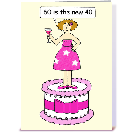 60th Birthday card for a lady greeting card by Kate Taylor Card – Lady Birthday Card