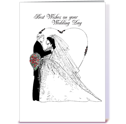 Wedding Wishes Black and White greeting card by Sandra Rose
