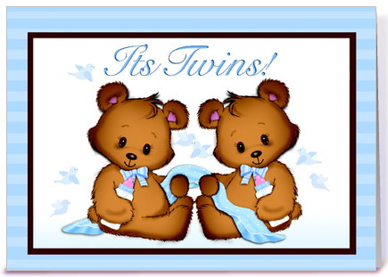 It's Twins! Baby Boys! greeting card by SVP Design & Illustration ...