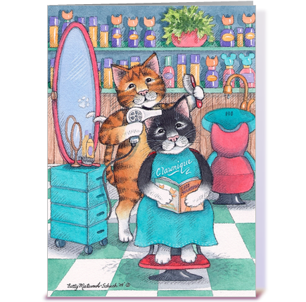 Tremendous Hair Salon Cats Happy Birthday 58 Greeting Card By Betty Hairstyle Inspiration Daily Dogsangcom