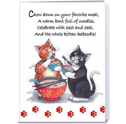 Noodle Cats Happy Birthday 64 greeting card by Betty Matsumoto – Birthday Cards Cats