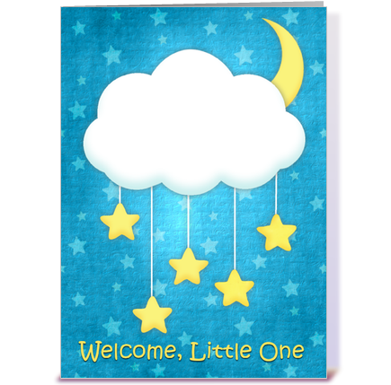 Cloud Mobile Welcome Baby greeting card by Out on a Whim - Card Gnome