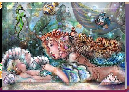 Mermaid Mom Pretty Mermaid Mom And Baby